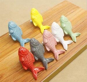 Forma nuova casa bambini cassetto manopole Pesce Maniglie di ceramica per bambini in camera Kitchen Cabinet Maniglie Armadio pomoli per mobili Hardware
