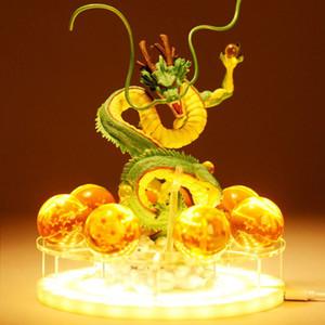 DBZSAIYAN 17 cm USB Dragon Ball Shenron Lámpara de cabecera Dragon Ball Figura Luz de noche Shenlong + 7pcs 3.5cm Bolas + Estante de acrílico DBZ Y190529