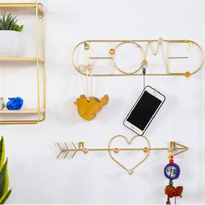 Corazón gancho nórdico pared de metal de oro en forma de suspensión de ganchos de pared para colgar la ropa Hook Decoración clave percha bolso de colgar Bastidores de puerta