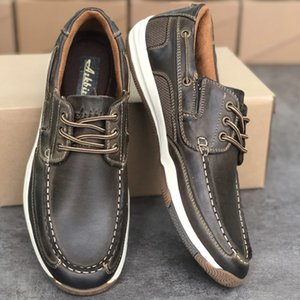 2020 Men's Boat Shoes Fashion Handmade Male Moccasins Dress Shoes High Quality Genuine Leather Formal Loafers Walking Shoes With Box