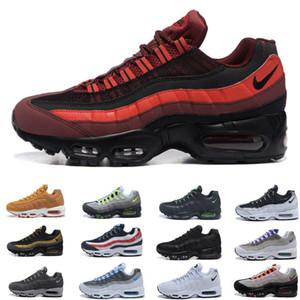 Nueva venta Hombres OG del amortiguador 95 para hombre de los zapatos corrientes de auténtico Max Chaussure 95s Aire zapatillas de deporte de triple Negro Rojo Blanco monitor de marcha 40-45 Deportes