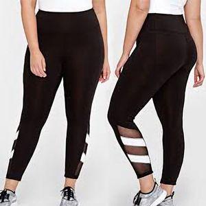 Frauen Mesh-elastische hohe Taille Fitness Stretch geerntete dünne Patchwork lange schwarze Leggings Plus Size