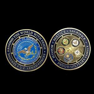 10 pcs não magnético O eua emblema militar 50mm tamanho grande colorido lembrança moeda banhado a ouro força aérea medalha decoração moeda collectible