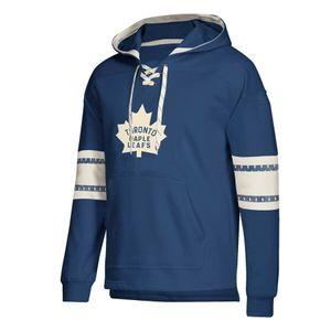 Toronto Herren Pullover Maple Leafs Jersey Lace-Up PulloverHoodie Blau mit Splicing Zugband vollen Hülsen genähtes Mantel-Jacke