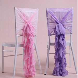 Ins 가장 인기있는 의자는 쉬폰 웨딩 의자 커버 로맨틱 프릴 신부 파티 연회 의자 뒤로 결혼식 호의 장식 용품