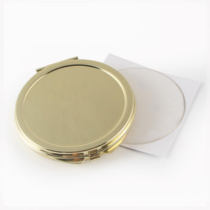 5 Pieces lot Gold Compact Mirror Blank 51mm Pocket Mirror + Sticker Diy Set #18032 Small Trail Order