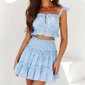 iClosam 섹시한 블루 러플 짧은 드레스 여성 두 조각 세트 여름 꽃 비치 드레스 캐주얼 폴카 도트 미니 Vestidos 인쇄하기
