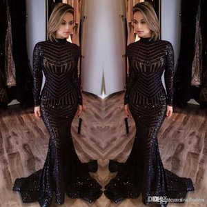 2018 Hot Sale Cheap Long Evening Dresses High Neck Long Sleeves Floor Length Memraid Prom Party Dresses Formal Evening Gowns