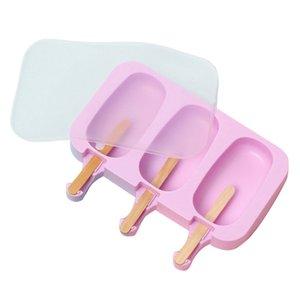 Crème glacée mignon silicone moule avec couvercle Diy Maker crème glacée avec 100x en bois, bâtons 2Pcs
