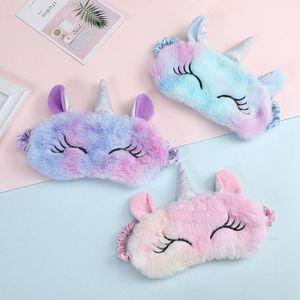 Partido del unicornio Eye Mask Variedad de dibujos animados máscara para dormir cubierta de la felpa visera Relax conveniente para los regalos el recorrido del partido Inicio