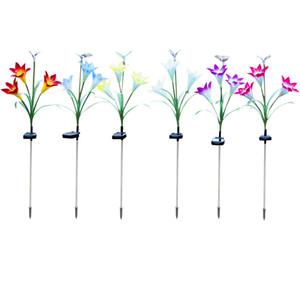 Солнечные огни на открытом воздухе-новые модернизированные солнечные садовые огни, многоцветные меняющиеся Лилии солнечные цветочные огни для патио, украшения двора