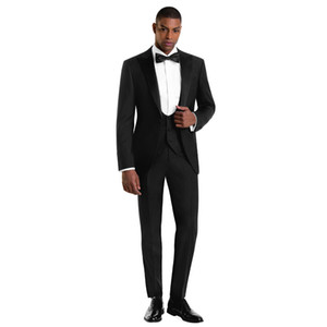 High Quality Black Slim Fit Mens Suits Wedding Grooms Tuxedos Peaked Lapel Formal Blazer Three Pieces Prom Suit Jacket Pants And Vest)