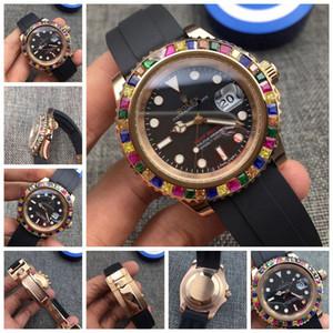 18 ayar Renkli taş Yüksek Kaliteli Paslanmaz Çelik elmas Mens lüks erkek Saatler Man Fonksiyonlu Moda Günlük Otomatik mekanik saat
