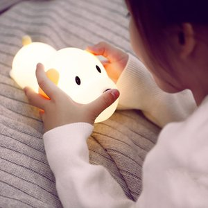 Cartoon Dog LED Night Light Touch Sensor Dimmable Timer USB Rechargeable Silicone Puppy Bedside Lamp for Children Kids Baby Gift M1681