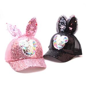 Babysommerhut Bling Paillette-Babymütze Kaninchen-Ohr-Baseballmütze für Mädchen Adult Mesh-Sun Cap Kinder Accessoires