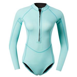 Женщины 2 мм неопрена с длинным рукавом гидрокостюм передняя молния дайвинг бикини костюм купальники для подводного плавания серфинг
