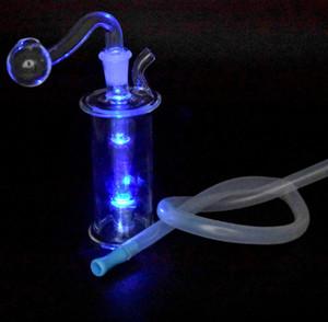 Novo LED Glass Glass Burner Bongo Tubulações de Água Pequena Bubbler Bong Mini Plataformas Dab Para Fumar Hookahs com 10mm de vidro de vidro queimador de óleo e mangueira