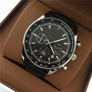 Big Dial 42mm de Luxo Homem de couro preto Assista Todos os subdials trabalho de Aço Inoxidável Relógio de Qualidade Superior de Moda Relógio de Quartzo transporte da gota