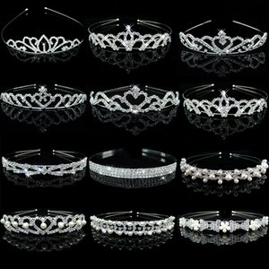 Princess Crystal Tiaras and Crowns Headband Kid Girls Bridal Crown Wedding Tiara Hair Accessories Pearl Hair Bands Jewelry