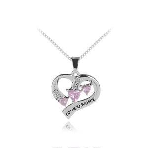 Ich liebe dich mehr Herz Halskette Herz Anhänger Halsketten Liebhaber Schmuck für Frauen Männer Valentinstag Geschenk