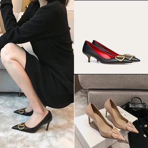 High-heeled shoes women's thin heels 2020 all-match temperament metal V buckle French pointed single shoes shallow-mouth women's Y200702