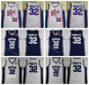 Moive Shanghai Tubarões 32 Jimmer Fredette Jersey Homens Brigham Young Cougars Fredette Faculdade Jersey Basquete Uniforme Equipe Cor Azul Branco