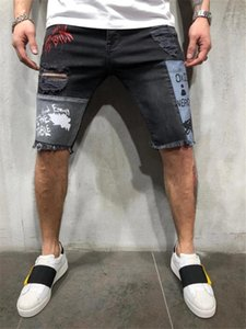 Designer Summer Knee Length Jeans Casual Personality Ripped Panelled Letter Painted Jeans Fashion Mens Clothes Mens