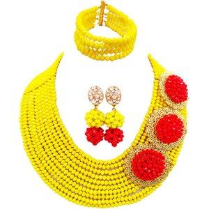 새로운 스타일 불투명 한 노란색 빨간색 패션 여성 크리스탈 비즈 목걸이 귀걸이 세트 10C - C3PH - 13