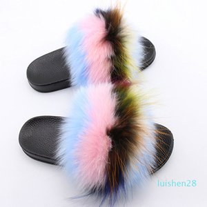 Women's Real Fur Fluffy Slippers Mixcolor Fur Slippers Fuzzy Home Slides Female Fashion Furry Flip Flops Summer Beach Shoes l28