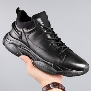 Men's Brand High quality genuine leather Casual shoes Lace-Up Lightweight Men Shoes fahsion outdoor Male walking shoes a4