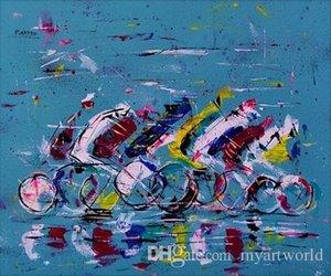 Acrylmalerei Radrennfahrer, hochwertiges handgemaltes HD-Druck-modernes abstraktes Pop-Art-Ölgemälde auf Leinwand in mehreren Größen Ab276