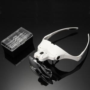 1 takım 5 Lens Ayarlanabilir Büyüteç Kafa Büyüteç Büyüteç Kirpik Uzatma Güzellik Için LED Işık lamba Büyüteç Gözlük