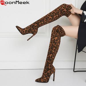 MoonMeek 2020 по колено сапоги заостренный носок сапоги бедра женщины осень тонкие туфли на каблуках леопардовым принтом стрейч