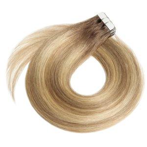 Band in Hair Extensions Ombre Chocolate Brown zu Caramel Blonde Balayage Haarverlängerungen Band in Natural Echthaar