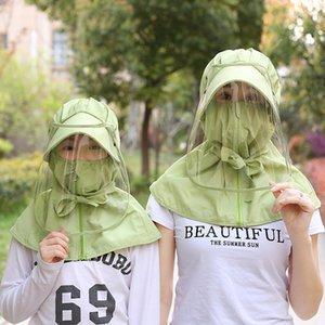 Verano de protector solar Niños máscara femenina verano lavable anti-UV Sombrero de sol sombreado máscara para cubrir la cara del envío rápido