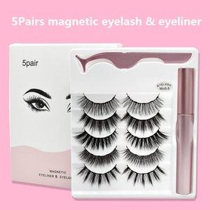 5 pares de delineador de ojos de pestañas postizas magnéticas delineador de ojos magnético + pinzas +5 pestañas magnéticas mixtas Drop ship 1set