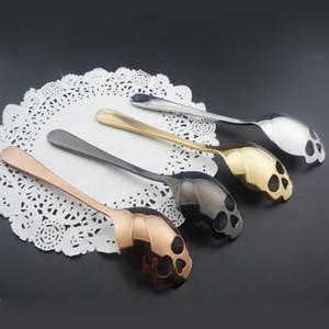Yaratıcı Kafatası Şekil Şeker Kaşık Paslanmaz Çelik Karıştırma Kaşık Sofra Takımı Içme Araçları Mutfak Gadget Kahve meyve kaşığı