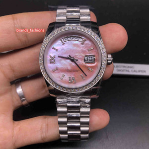 Бутик Мода Бизнес Часы Серебряный Корпус Из Нержавеющей Стали Ремешок Часы Shell Лицо Бриллиантовое Кольцо Рот Автоматические Механические Часы