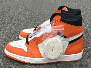 Yüksek Yeni 1 saten OG Backboard erkek basketbol ayakkabıları eğitmenler spor Shattered turuncu siyah spor ayakkabıları açık TOP kalite boyutu 8-13