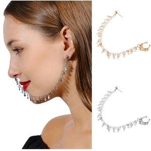 Pendientes de plata punky de oro de la nariz del aro de la manera del anillo de la cadena oído de la joyería de la nariz postes con lentejuelas de la borla de la cadena de acoplamiento de la personalidad geométrica
