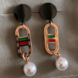 2020 nouvel acier de titane magnifique mode de haute qualité 316L rose boucles d'oreilles de mariage de perles d'or pour les femmes balancent filles amateurs de bijoux