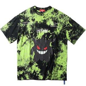 2020 Erkekler Hip Hop Tişörtlü Batik Şeytan Baskı Oversize Tişört Streetwear HipHop Gevşek Tişört Yaz Kısa Kollu Tee Cotton Tops