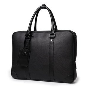 2019 Business office Briefcase Men Soft PU Leather Handbag male Casual Computer laptop bag Black File Tote Classic Travel bags