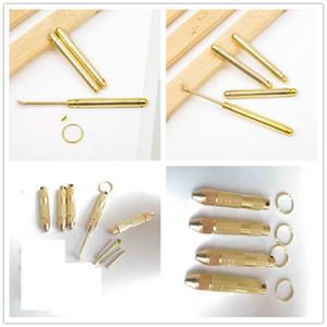 Metal del oro Dabber Dab cuchara herramienta anillo dominante de la pala de cera Jar Herramientas cucharada Hookah Shisha 4 en 1 Fumar pipa Tabaco Llavero Snorter Sniffer