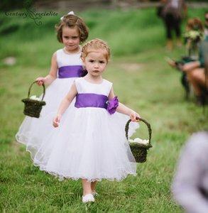 Adorável Flor Meninas Vestidos de Baile Vestidos Artesanais Flores Tornozelo-Comprimento Com Zíper de Volta Bonito Vestidos de Festa de Aniversário de Casamento Primeira Comunhão Vestidos