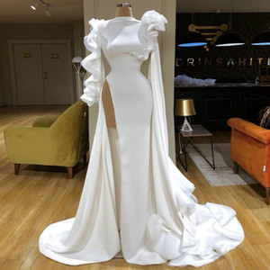 Sexy African Black Girls Mermaid Prom Dresses 2020 White Satin Ruffle Flower Long Sleeve Ruched Evening Gowns High Split Vestido de gala