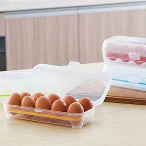 Organizador del caso de recipiente de cocina 10 Rejilla almacenamiento de huevos caja multifuncional Frigorífico Huevo del rizador plástico conservación de alimentos