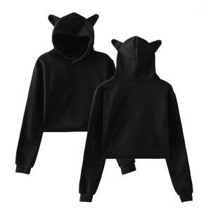 Sweatshirts Cute Wind Womens Clothing Women Designer Hoodies Casual Solid Color Cat Ears Hooded Exposed Navel Female
