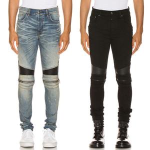 Dañar Fundido Motocycle Jeans Para Hombres del diseño popular de cuero a paneles de rodilla apenado de algodón elástico Pantalones vaqueros