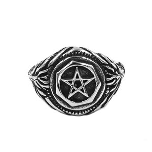 Envío gratis Pentagrama Amuleto Biker anillo de acero inoxidable joyería clásica de cinco puntas estrella oveja cabra Biker Mens anillo 896B